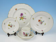 KPM NEUOSIER 5pc Place Setting Flowers & Insects Dinner Plate Cup & Saucer Salad