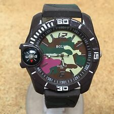 Bolun Mens military Style Analog Quartz Watch Hours~Compass~New Battery