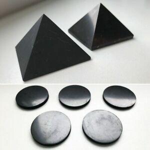 Shungite Pyramid 30 mm (2 pcs) + Shungite Cell phone Stickers 19 mm - 5 pcs