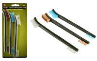 """3pc 7"""" Double Ended Gun Cleaning Brush Set - Nylon Plastic Copper Brush"""