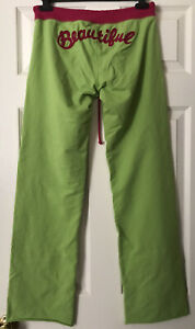 Lucky Brand Embroidered Appliqué Beautiful Sweatpants Lounge Green Pink Stretch
