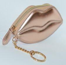 VICTORIA'S SECRET METALLIC GOLD LIPS BEAUTY BAG GLOSS CARD CASE COIN PURSE POUCH