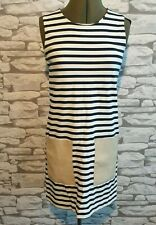 COS breton Striped Jersey Dress Contrasting Leather Pockets XS 6/8  nautical 60s