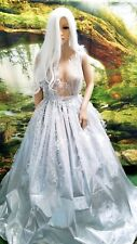 RAJATA Romantic Ethereal Ice Goddess Silver Lame' Lace Wedding Bridal Ballgown