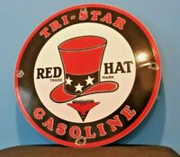 VINTAGE RED HAT GASOLINE PORCELAIN GAS SERVICE STATION PUMP PLATE OIL RACK SIGN