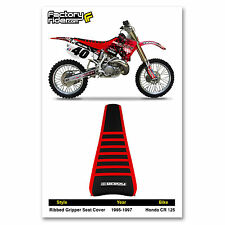 1995-1997 HONDA CR 125 Red/Black/Red RIBBED GRIPPER SEAT COVER BY Enjoy MFG