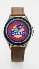 Relic Watch Men NFL Bills Logo Stainless Silver Gold Brown Leather Quartz