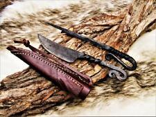 Mittelalter Messer mit Esspfriem +Scheide Wikinger;Kelten handgeschmiedet 4153