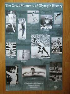 Moments OLYMPIC History Poster MUHAMMAD ALI JIM THORPE JESSE OWEN MARK SPITZ