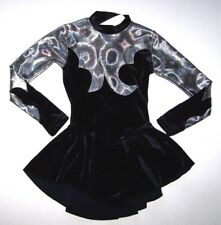 Nwt New Agiva Skate Skating Dress Leotard Velvet Hologram Black Silver Girl 6 7