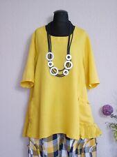 LaBass° Lagenlook Leinen Tunika Shirt A-Linie Taschen Plus size ~ Maisgelb ~ 1
