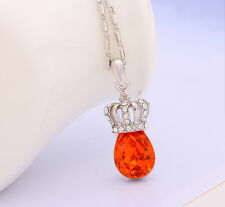 Women Fashion Red Charms Crystal Rhinestone Imperial Crown Pendant Necklace
