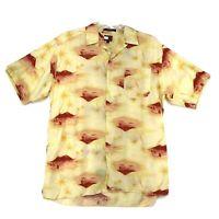 Tommy Hilfiger Hawaiian Camp Shirt Mens L Rayon Aloha Loop Collar Yellow Red