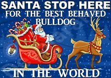 BULLDOG Santa Sign - STOP HERE FOR BEST BEHAVED - Novelty Laminated Gift Present