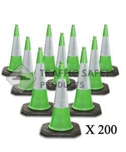 Pack of 200 - ELITE Traffic Cones 750mm 2 piece GREEN