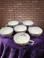 6x Tea Cups Meito China SPRING ROSE Made In Japan Porcelain Gold Roses White