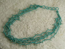 Southwestern Blue Micro Bead Multi Strand Necklace (B26)