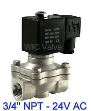 "3/4"" Stainless Electric Air Water Solenoid Valve Normally Closed 24V AC Viton"