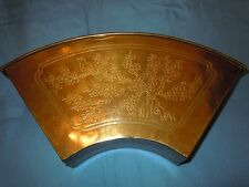 VINTAGE BRASS WALL SCONCE POCKET LETTER MAIL BOX ETCHED BIRDS ASIAN THEME NICE