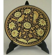 Damascene Gold Bird Round Decorative Plate by Midas of Toledo Spain