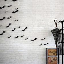 12Pcs/set 3D Negro PVC Bat Hágalo usted mismo Decoración Pared Adhesivo Halloween Fiesta Bar decalhfji