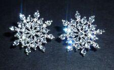 Crystal fiocco di neve strass Diamante Luccicante Placcato Argento Strass Orecchini