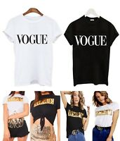 Womens Short Sleeve Gold Foil Vogue Slogan Printed Casual T Shirt Top 8-14