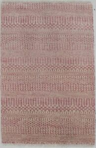 Grass Design Pink Modern Style Small 2X3 Wool Hand-Knotted Décor Area Rug Carpet