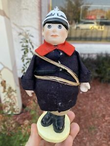 "7.5"" Bisque Policeman Pin Cusion Doll Marked 1411 ""Wonderful Man"""