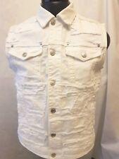 Dsquared2 (distressed) Denim Waistcoat in White Size Eu48 UK M S71fb0284