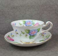 Vintage Royal Chelsea Pink, Blue & Yellow Morning Glory English China Tea Cup