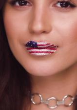Violent Lips Red White & Blue Flag Lips Tatoo 3 Sheets