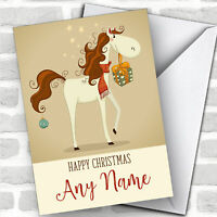 Horse With Gifts Modern Personalized Christmas Card