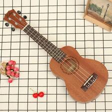 AU 21'' Soprano Ukulele Uke Sapele Mahogany Neck 15 Frets Musical Ukelele Brown