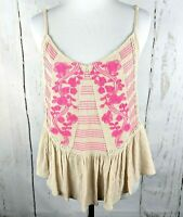 Womens ALYA Embroidered Cami Small Beige Pink Peplum Tank Top Spaghetti Strap S