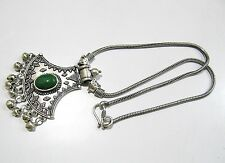 Beautiful Green Bead Pendant With Flexible Chain, Silver oxidized Long Necklace.