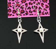 New Betsey Johnson  stars Crystal Pearl Dangle Gold  Hook Earrings woman Jewelry
