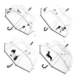 DUA Ladies Transparent Dome with Multi Dog Print Walking Length Umbrella