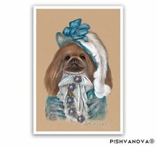 Pekingese Art Print-Lady in Blue-Gifts for Dog Lovers, Poster Dog Portrait
