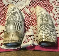 Lot of 2 -  Replica Whales Tooth (6 inches) - Ship Susan & A.T. Morgan - Ships