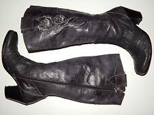 SIREN MARK NASON black leather embroidered  knee high boots women 7.5 b