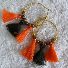 Indiana Womens Orange Olive Tassels Gold-Tone-Color-Ring Beads Huggie Earrings