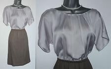 MONSOON Grey Khaki Thick Georgette Elastic Waist Kimono Sleeve Dress UK Medium