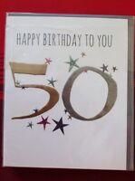 Clintons 50 50th Birthday Card Blank Free P&P