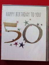 Clintons 50 50th Birthday Card Blank Free P&P