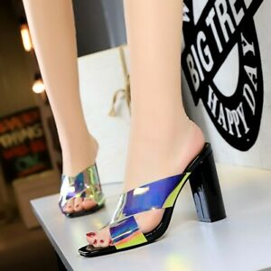 Fashion Womens Sandals Patent Leather Block High Heel Slippers Open Toe Shoes