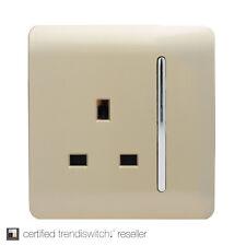 Trendi 1 Gang Artistic Modern Glossy 13 Amp Switched Plug Socket Gold SKT13GO