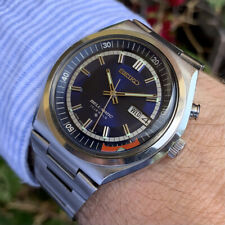 Seiko Bell-Matic Vintage Automatic DayDate Alarm Wrist Watch Stainless Blue Dial
