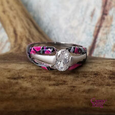 Muddy Girl Camo - Custom Solitaire Silver & CZ Ring - Size 8.5 by CamoRing.com
