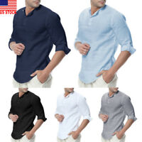US Luxury Men's Stylish Casual Dress Shirt Slim Fit T-Shirts Formal Long Sleeve